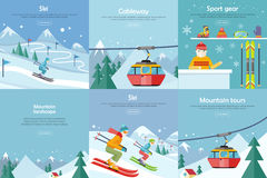 Set of Winter Leisure Flat Style Banners Royalty Free Stock Photo