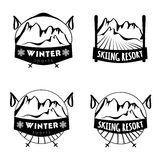 Set of winter logos with skiing equipment Stock Photo