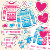 Set of winter love stickers with owl and heart. Sweater, mittens Royalty Free Stock Image