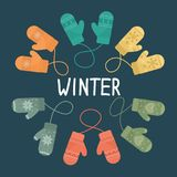 Set of winter mittens Royalty Free Stock Images