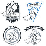 Set of winter mountain ski emblems, badges and icons. Stock Photo