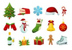 Set winter objects for celebration of new year, Merry Christmas. Set of winter objects for celebration of new year, happy Merry Christmas. Christmas tree, Santa Royalty Free Stock Image