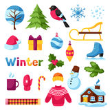 Set of winter objects. Merry Christmas, Happy New Year holiday items and symbols Stock Photos