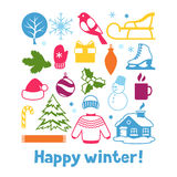 Set of winter objects. Merry Christmas, Happy New Year holiday items and symbols Royalty Free Stock Images
