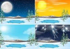 Set of winter outdoor scene stock images