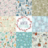 Set of winter patterns Stock Images