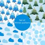 Set of winter patterns. Seamless Christmas pattern. Set vector illustration stock illustration