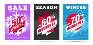 Set of winter posters with per cent numbers and big typography. On bright color background vector illustration