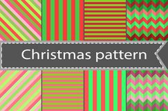 A set of simple seamless striped and chequered patterns of blue and pink. Set of winter red and green variety of seamless patterns - horizontal, vertical and Stock Photography