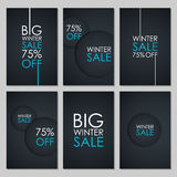 Set of Winter Sale banners. Special offer, discount up to 75% off. Royalty Free Stock Images