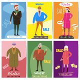 Set of winter sale cards with the characters of people, men and women of different ages in winter clothes, the trend of. Set of winter sale cards with the vector illustration