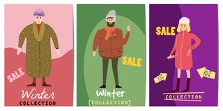 Set of winter sale cards with the characters of people, men and women of different ages in winter clothes, the trend of. Set of winter sale cards with the royalty free illustration