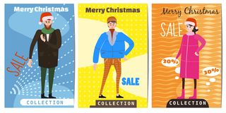 Set of winter sale cards with the characters of people, men and women in winter clothes, the trend of retro flet kartun. Set of winter sale cards with the royalty free illustration