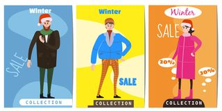 Set of winter sale cards with the characters of people, men and women in winter clothes, the trend of retro flet kartun. Set of winter sale cards with the stock illustration