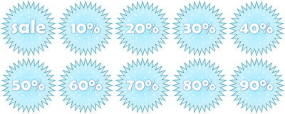 Set of winter sale icons Stock Images