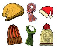 Set of winter scarfs and caps Royalty Free Stock Images