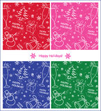 Set of winter seamless backgrounds. Vector, Christmas, New Year, winter holidays, for greeting and invitation cards etc Stock Image