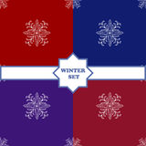 Set Winter seamless pattern with snowflakes Royalty Free Stock Images