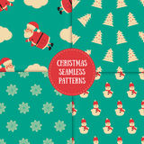 Set of winter seamless patterns with decorative elements. Awesome holiday  backgrounds. Christmas textures for your surface Royalty Free Stock Photography