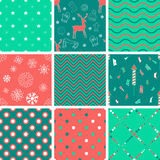 Set of winter seamless patterns with hand drawn elements. Stock Photo