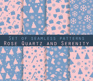 Set of winter seamless patterns. Rose quartz and serenity violet Stock Photo