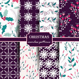 Set of winter seamless patterns. Stock Photos