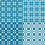 Set of winter seamless patterns with tartan and snowflakes. Royalty Free Stock Photography