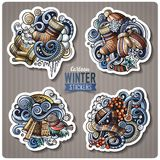 Set of Winter season cartoon stickers. Vector hand drawn objects and symbols collection. Label design elements. All elements are separated Stock Images