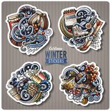 Set of Winter season cartoon stickers. Vector hand drawn objects and symbols collection. Label design elements. All elements are separated Royalty Free Stock Photos