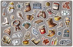 Set of Winter season cartoon stickers Royalty Free Stock Image