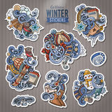 Set of Winter season doodle cartoon stickers Stock Photos