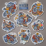 Set of Winter season doodle cartoon stickers Royalty Free Stock Images