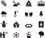 Set of winter and skiing web icons Stock Images
