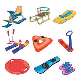 Set of winter sleds on the white background. Royalty Free Stock Photography