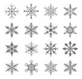 Set of winter snowflakes, silhouette black isolated on white background. Ideal for christmas design cards stock illustration