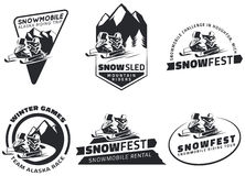 Set of winter snowmobile emblems, badges and icons. Royalty Free Stock Photo
