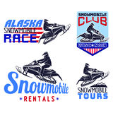 Set of winter snowmobile emblems, badges and icons. Stock Photography