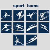 Set of winter sport icons. A set of sport icons. Winter games icon set Royalty Free Stock Photos