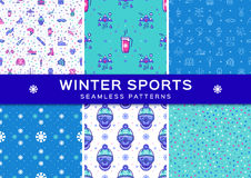 Set winter sport seamless patterns. Holiday recreation fun, ski, snowboard Stock Photos