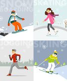 Set of winter sports and activities in flat style Stock Photography