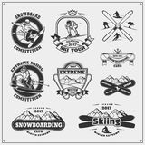 Set of winter sports emblems, labels, badges and design elements. Snowboarding, extreme skiing, downhill. Vector stock illustration