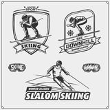 Set of winter sports emblems, labels and design elements. Skiing, downhill, slalom. Vector Stock Images