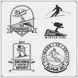 Set of winter sports emblems, labels and design elements. Skiing, downhill, slalom. Vector Royalty Free Stock Images