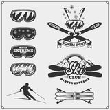 Set of winter sports emblems, labels and design elements. Skiing, downhill, slalom. Vector Royalty Free Stock Photography