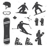 Set of winter sports equipment, skier and snowboarders silhouettes. Vector illustration. Collection include helmet, snowboard, glasses, boots and gloves Stock Photography