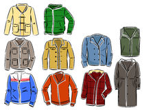 Set of mens jackets. Set of winter and spring jackets for men Stock Photography
