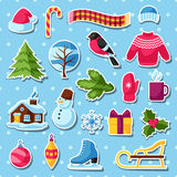 Set of winter stickers. Merry Christmas, Happy New Year holiday items and symbols Royalty Free Stock Photography