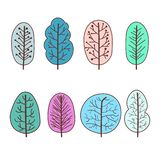 Set of winter trees abstract linear icons. Hand-drawn forest trees. Vector illustration vector illustration