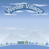 Set of Winter Village and Town Landscape Royalty Free Stock Photos