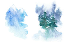 Set of winter watercolor illustrations - snowy mountains, landscape with firs. Stock Photography